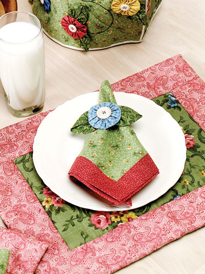 دستمال سفره با گل یویو
